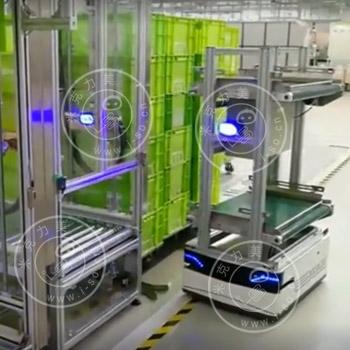 「南京AGV案例」激光AGV自动输送物料自动上下料