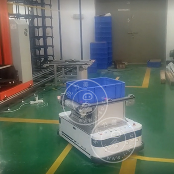 「广东AGV案例」滚筒AGV与线边滚筒对接自动上下