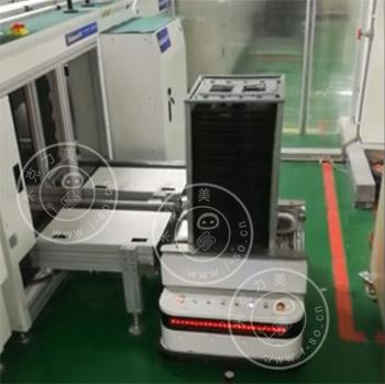 「江苏AGV案例」磁导航AGV小车对接收板机视频