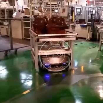 「苏州AGV案例」AGV机器人顶升物料架视频